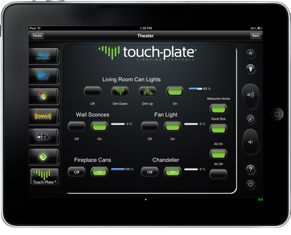Ipad Tablet Screenshot Touch Plate Lighting Controls